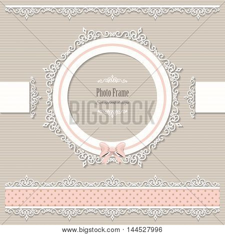 Lacy round frame and borders. Scrapbook design elements. Vintage.