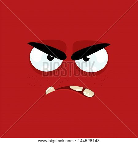 Cartoon face with angry expression on a red background.
