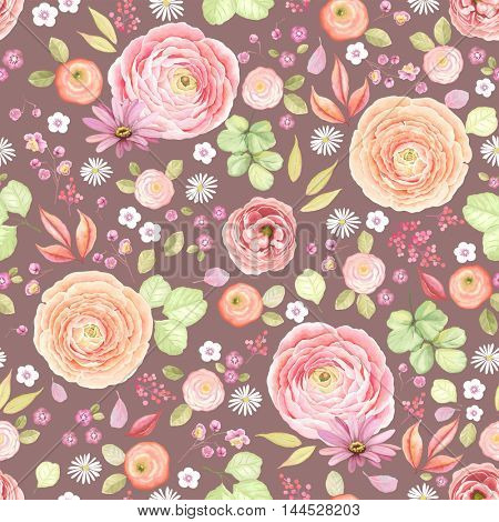 Seamless rustic pattern with flowers Ranunculus, Roses, Pyrethrum, leaves and branches. Vector floral illustration in vintage style on dark background.