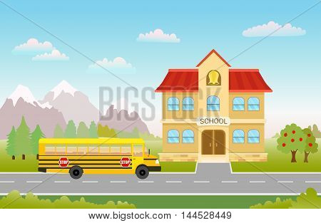 cartoon illustration with bus on road to school on landscape with trees mountains and clouds. vector