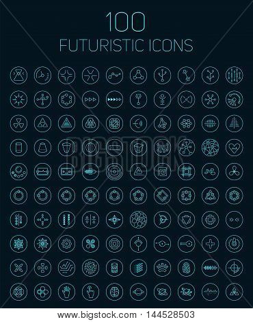 100 Abstract Vector Futuristic Icons.