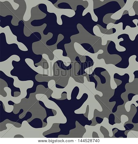 Trendy camo military urban seamless vector pattern. Abstract background navy army khaki illustration in blue gray color scheme