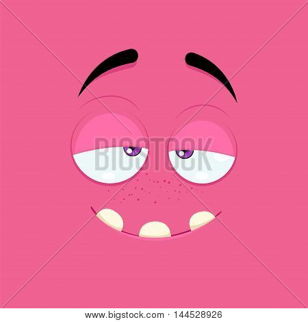 Cartoon face with a dreamy expression on a pink background.