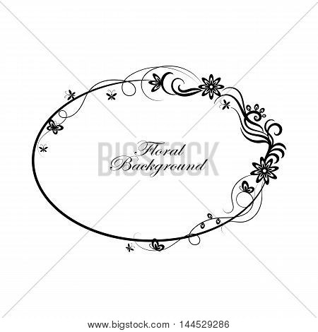 Oval simple ornamental frame in black and white style.