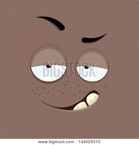 Cartoon face with a smug expression on a brown background.