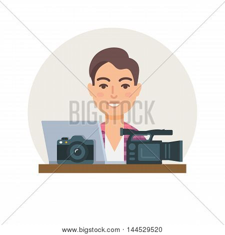 Videographer, photographer, clipmaker vector illustration flat style