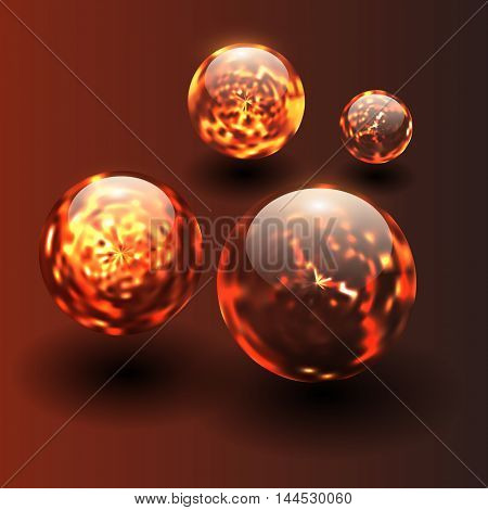 3D background with magma fiery balls, vector spheres.
