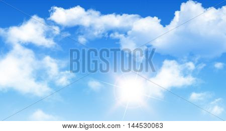 Blue sky with clouds and sun, perfect day vector background.
