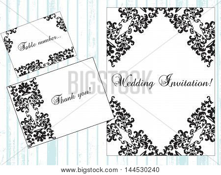 Vintage Damask Invitation card with classic royal ornaments. Vector