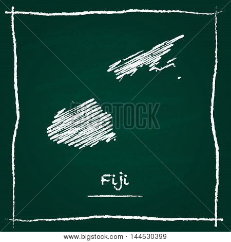Fiji Outline Vector Map Hand Drawn With Chalk On A Green Blackboard. Chalkboard Scribble In Childish