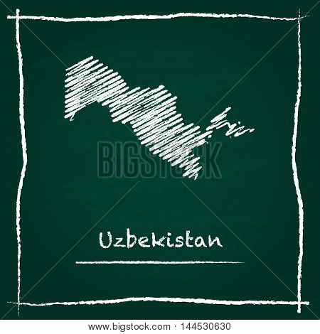 Uzbekistan Outline Vector Map Hand Drawn With Chalk On A Green Blackboard. Chalkboard Scribble In Ch