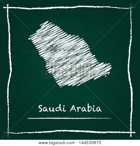 Saudi Arabia Outline Vector Map Hand Drawn With Chalk On A Green Blackboard. Chalkboard Scribble In