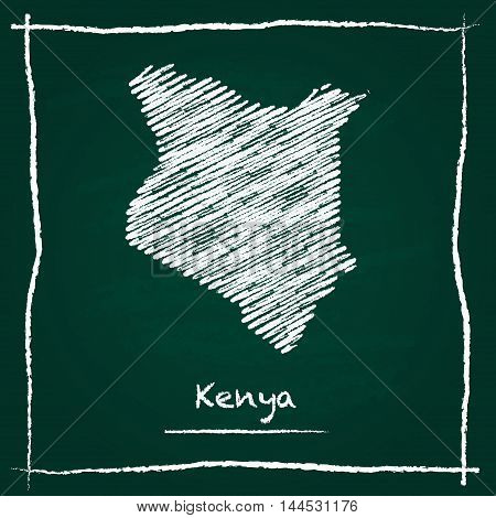 Kenya Outline Vector Map Hand Drawn With Chalk On A Green Blackboard. Chalkboard Scribble In Childis