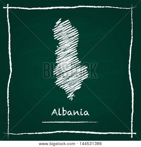 Albania Outline Vector Map Hand Drawn With Chalk On A Green Blackboard. Chalkboard Scribble In Child