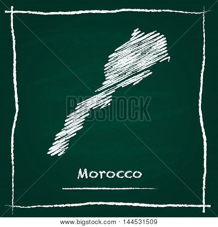 Morocco Outline Vector Map Hand Drawn With Chalk On A Green Blackboard. Chalkboard Scribble In Child