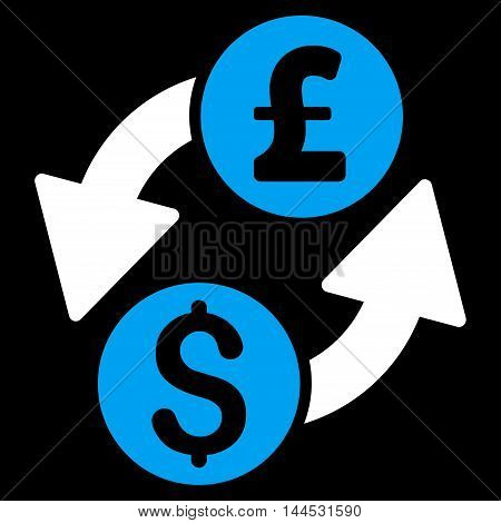 Dollar Pound Exchange icon. Vector style is bicolor flat iconic symbol with rounded angles, blue and white colors, black background.