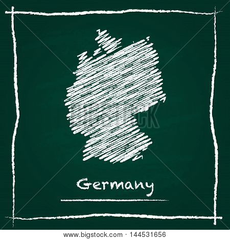 Germany Outline Vector Map Hand Drawn With Chalk On A Green Blackboard. Chalkboard Scribble In Child