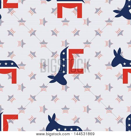 Democrat Donkeys Seamless Pattern On American Stars Background. Usa Presidential Elections Patriotic