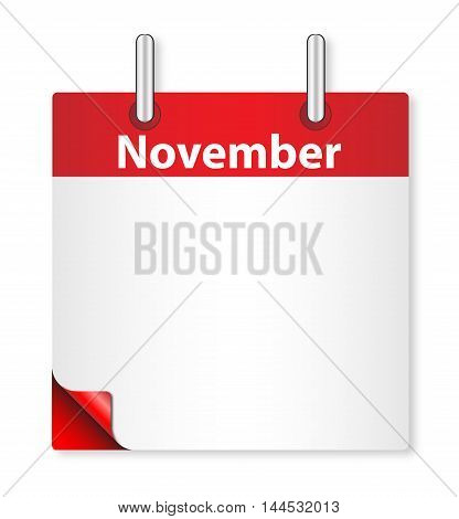 A calender date offering a blank November page over white