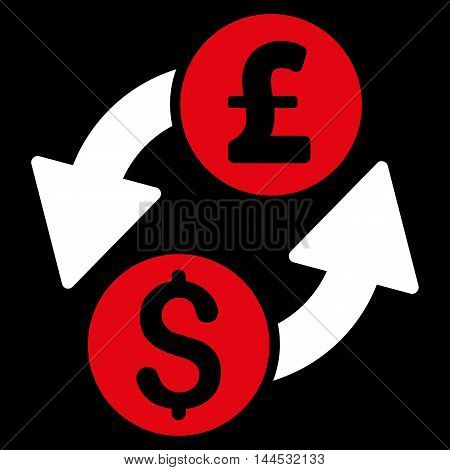 Dollar Pound Exchange icon. Vector style is bicolor flat iconic symbol with rounded angles, red and white colors, black background.