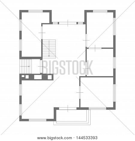 illustration of blueprint of some house on white background