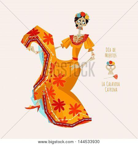 La Calavera Catrina. Elegant Skull. Dia de Muertos. Dancing skeleton. Vector illustration. Day of the Dead