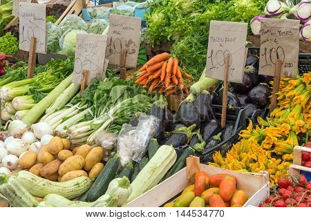 Fresh vegetables at a market in Palermo, Sicily