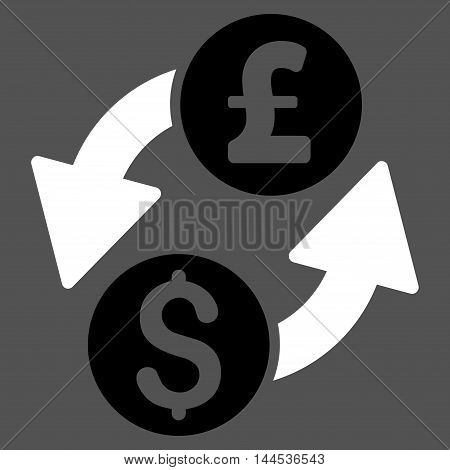 Dollar Pound Exchange icon. Vector style is bicolor flat iconic symbol with rounded angles, black and white colors, gray background.