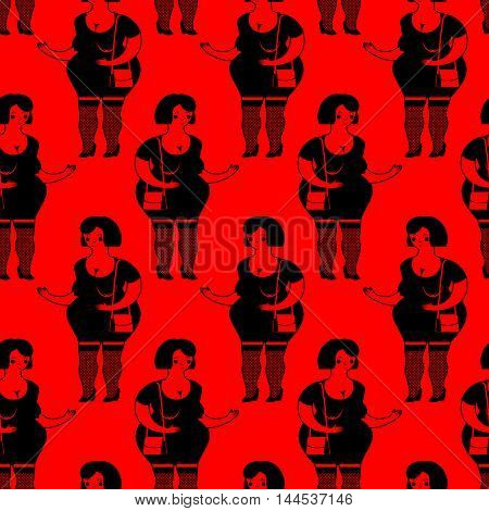 Prostitutes Seamless Pattern. Whore Texture. Cheerful Fat Woman Ornament