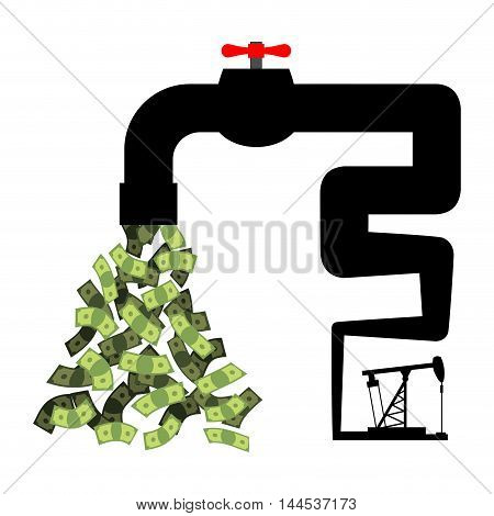 Tap With Money. Oil Derrick Pumps Cash. Revenue From Sale Of Petroleum. Cash Flow From Pipe. Dollars