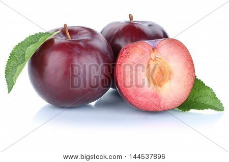 Plums Plum Blue Fresh Fruits Fruit Isolated On White