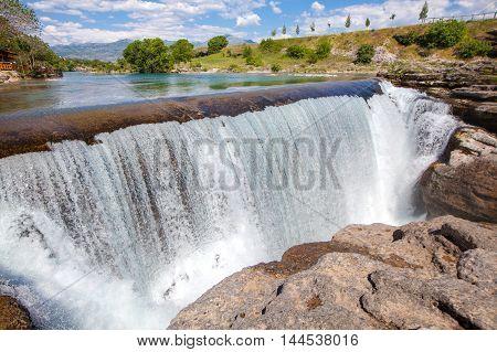 waterfall on the Cijevna river in Montenegro