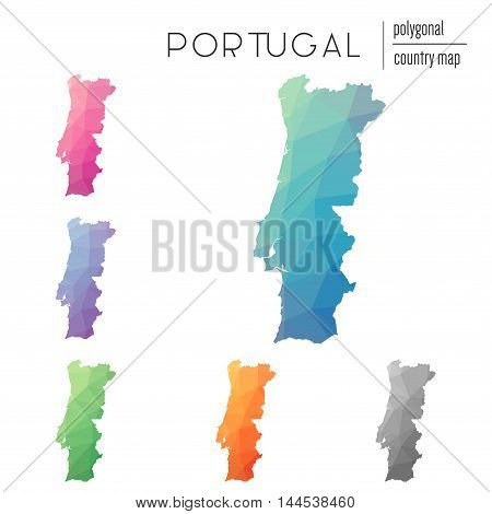 Set Of Vector Polygonal Portugal Maps. Bright Gradient Map Of Country In Low Poly Style. Multicolore