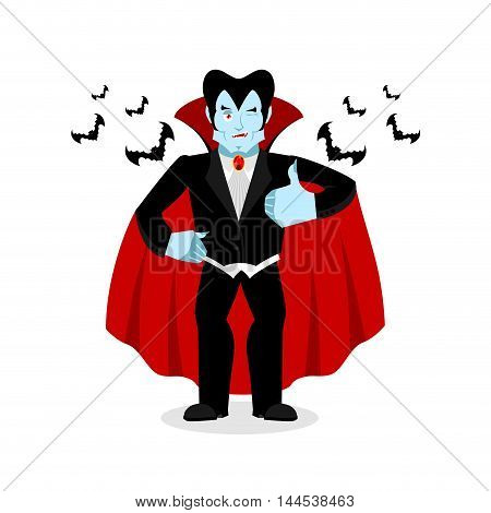Dracula Thumbs Up Shows Well. Vampire Winks. Sign All Right. Jolly Good Ghoul. Mimicry Smile On His