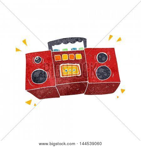 freehand retro cartoon cassette tape player