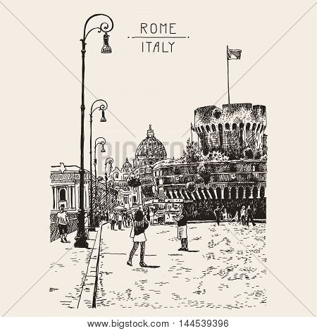 original hand drawing of cityscape with fortress of Sant'Angelo in Rome, Italy, vector illustration