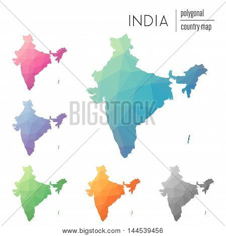 Set Of Vector Polygonal India Maps. Bright Gradient Map Of Country In Low Poly Style. Multicolored I