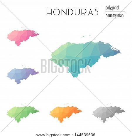 Set Of Vector Polygonal Honduras Maps. Bright Gradient Map Of Country In Low Poly Style. Multicolore