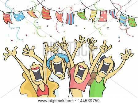 Funny cartoon illustration of group of people partying.