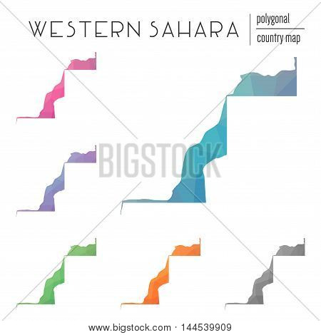 Set Of Vector Polygonal Western Sahara Maps. Bright Gradient Map Of Country In Low Poly Style. Multi