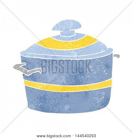 freehand retro cartoon cooking pot