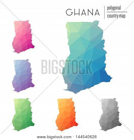 Set Of Vector Polygonal Ghana Maps. Bright Gradient Map Of Country In Low Poly Style. Multicolored G