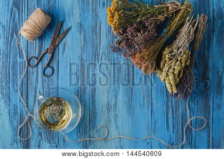 Aromatic lavender tea and bunch of lavender poster