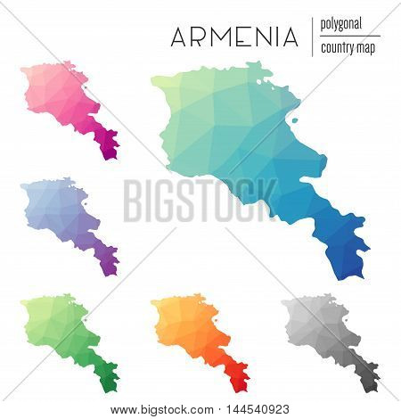 Set Of Vector Polygonal Armenia Maps. Bright Gradient Map Of Country In Low Poly Style. Multicolored