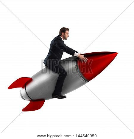 3D Rendering of man sitting on a missile