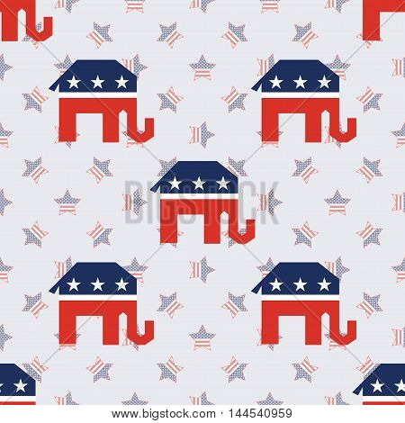 Broken Republican Elephants Seamless Pattern On American Stars Background. Usa Presidential Election