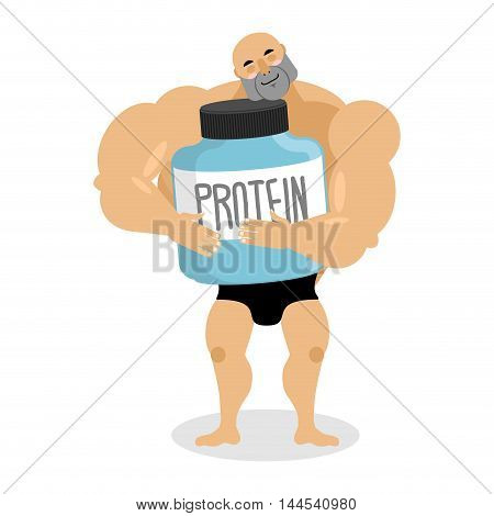 I Love Protein. Athlete And Sports Nutrition. Cute Bodybuilder. Lover Sports Nutrition. Fitness Mode