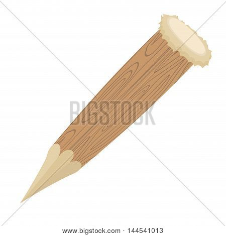Aspen Stake On White Background. Wooden Count Against Dracula. Weapons Hunter Of Vampires