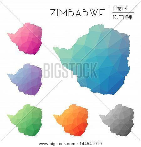 Set Of Vector Polygonal Zimbabwe Maps. Bright Gradient Map Of Country In Low Poly Style. Multicolore
