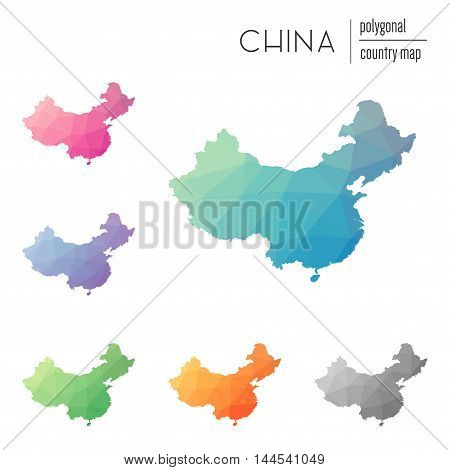 Set Of Vector Polygonal China Maps. Bright Gradient Map Of Country In Low Poly Style. Multicolored C
